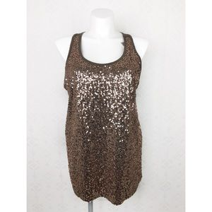💜Lane Bryant Brown Sequin Tank NWT